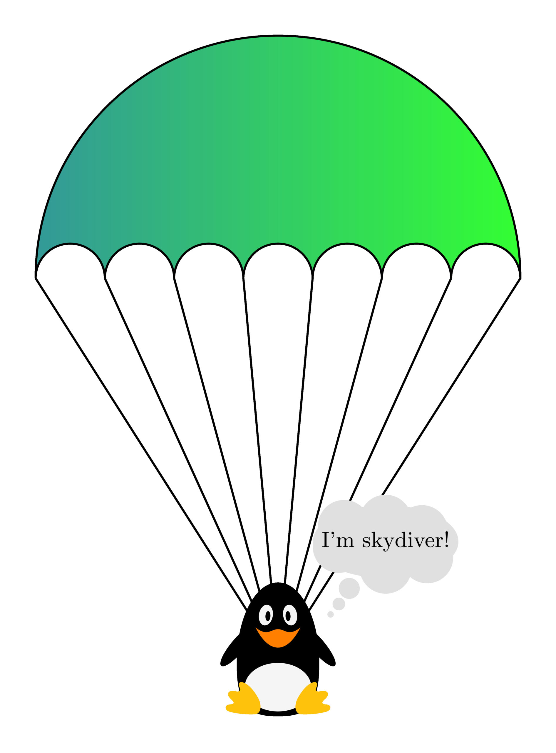 Skydiver with parachute in TikZ