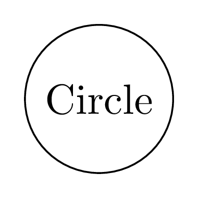 Add text to the Circle node in TikZ