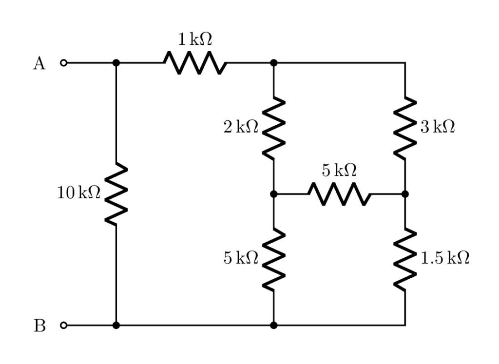 Equivalent resistor Example in CircuiTikZ LaTeX