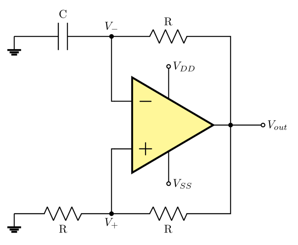 Relaxation oscillator using op amp in LaTeX Circuitikz