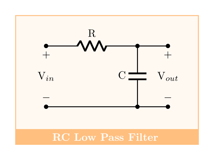 RC Low Pass Filter in circuitikz